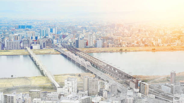 bird eye aerial view under sunrise and morning blue bright sky in osaka, japan. mix hand drawn sketch illustration - satoyama scenery stock photos and pictures