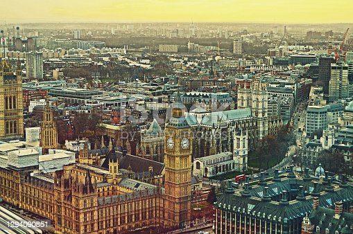 istock Bird eye or aerial view of Big Ben clock tower and houses of Parliament in London England 1294090851