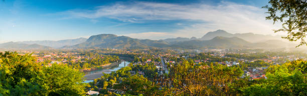 bird eye view at laung prabang,laos. - mekong river stock pictures, royalty-free photos & images