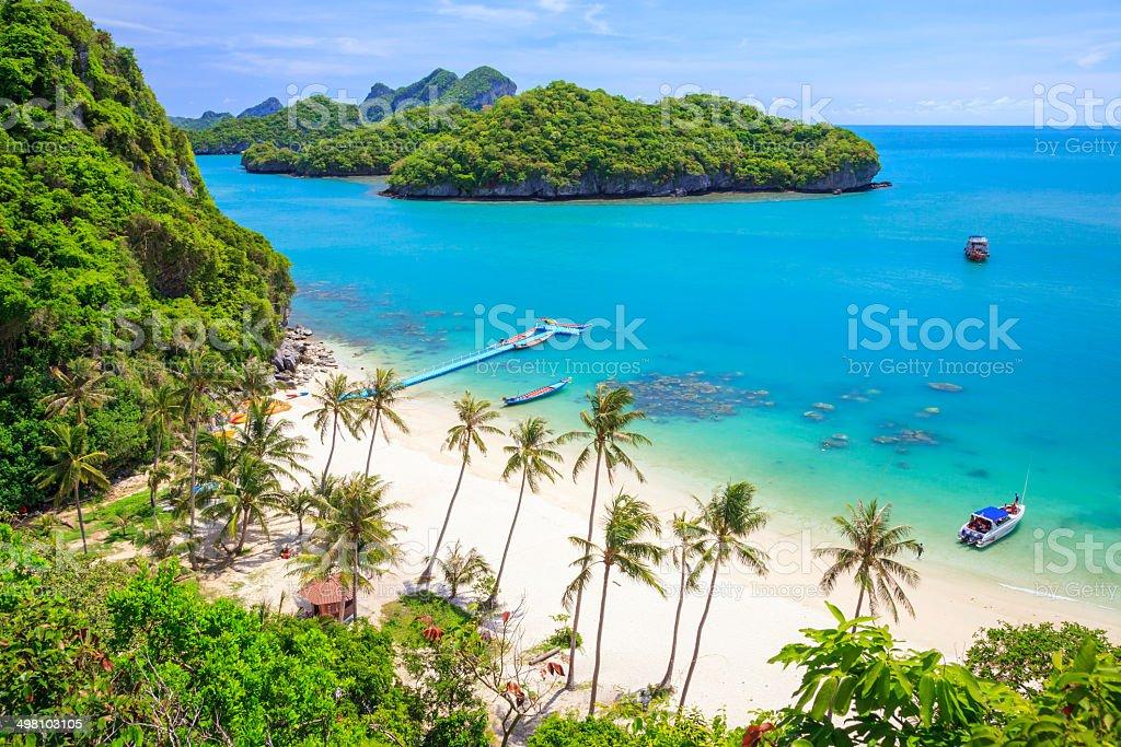 Bird eye view of Angthong national marine park, Thailand stock photo