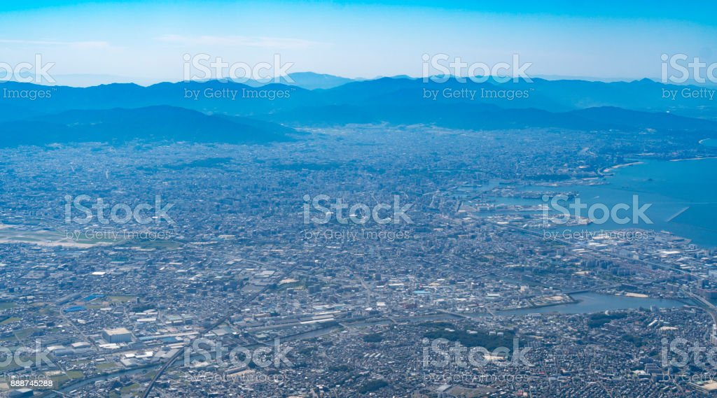 bird eye view of Fukuoka cityscape stock photo
