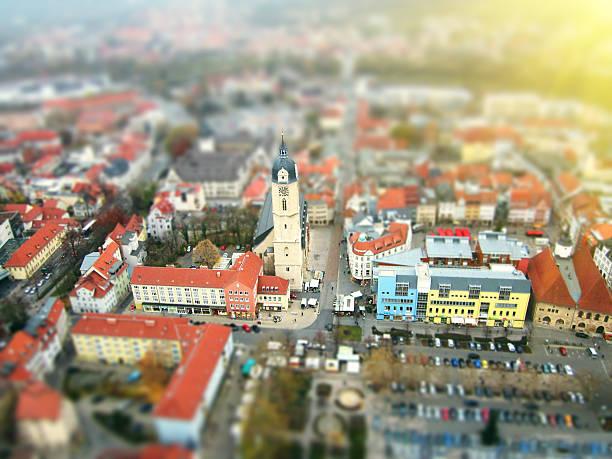 Bird eye ( aerial ) view of Jena, Germany stock photo