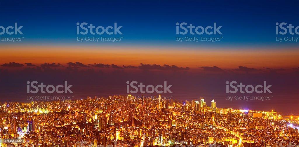 Bird eye view of night cityscape stock photo