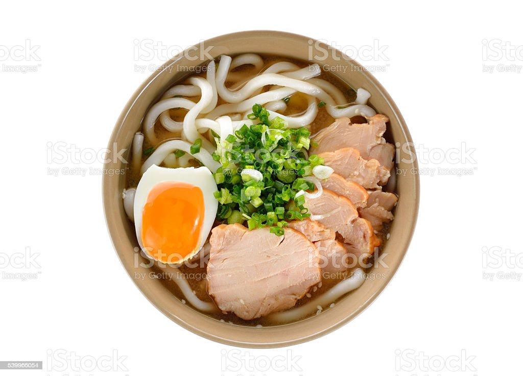 bird eyes view Japanese noodles, Udon with chicken and egg stock photo