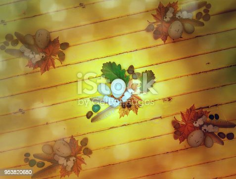 istock Bird feathers, stones, eggs, oak leaves, acorns, maple leaves on wooden background on top view. 953820680