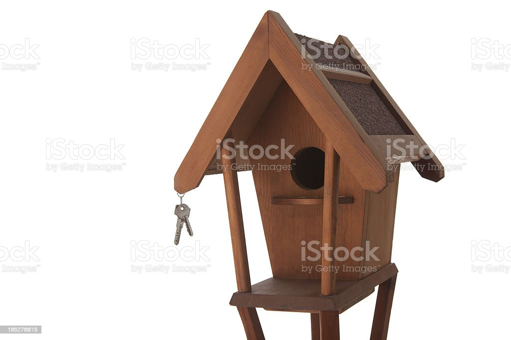 Bird house and keys on white background royalty-free stock photo