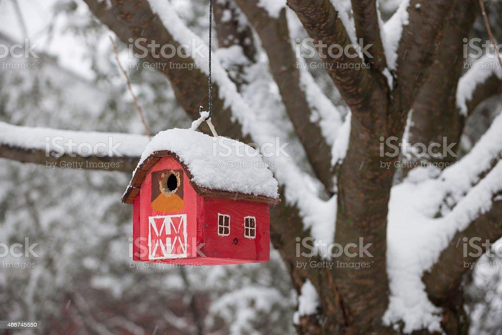 Bird house on tree in winter stock photo