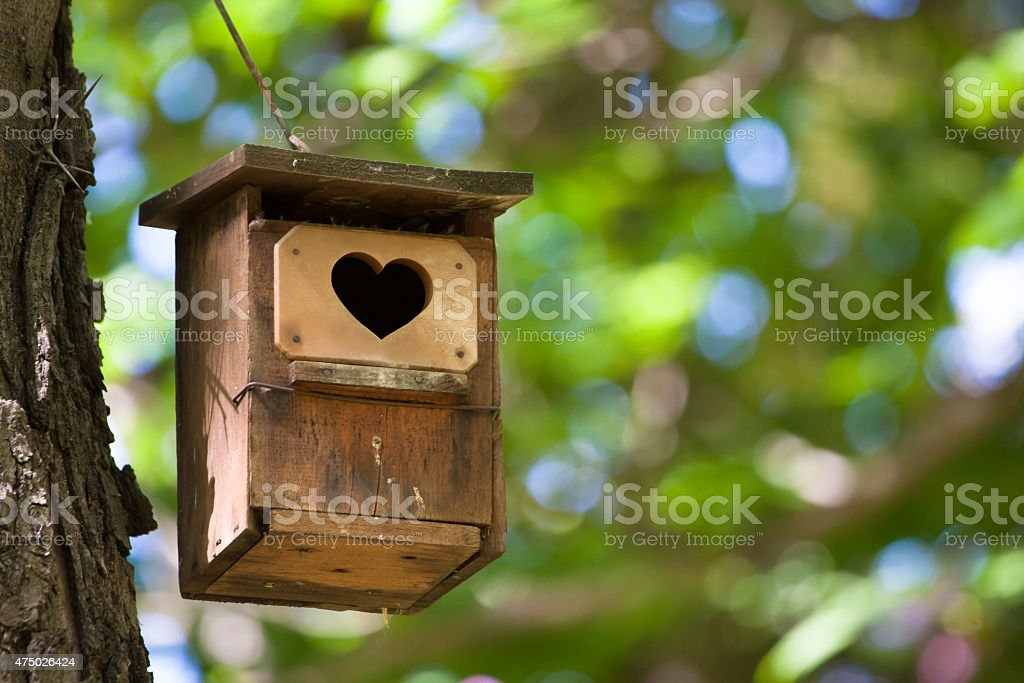 Bird house with the heart shapped entrance. stock photo