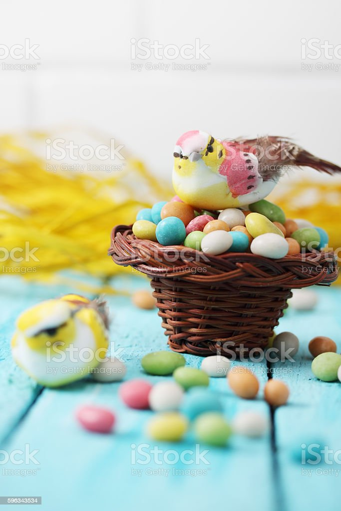 Bird in a small basket royalty-free stock photo