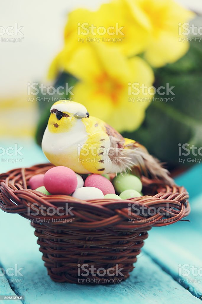 bird in the nest, Easter decoration royalty-free stock photo