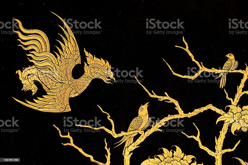bird in traditional thai style art painting royalty-free stock photo