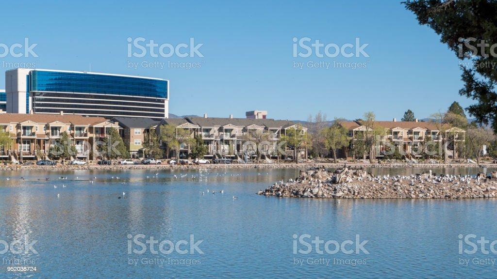 Bird island on Virginia Lake in Reno Nevada stock photo