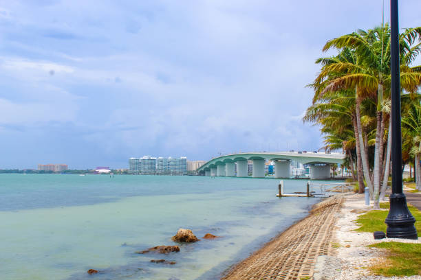 Bird Key John Ringling Bridge from Bird Key Car Park just after a storm  - Sarasota, Florida stock photo
