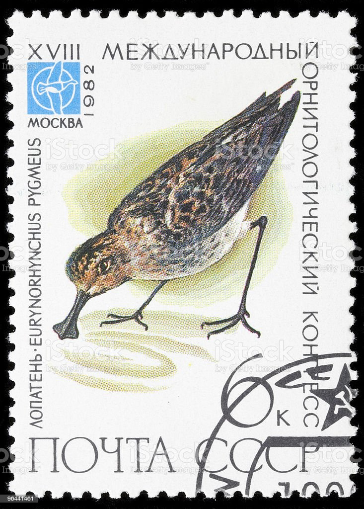 Bird on a postage stamp - Royalty-free Beschrijvende kleur Stockfoto