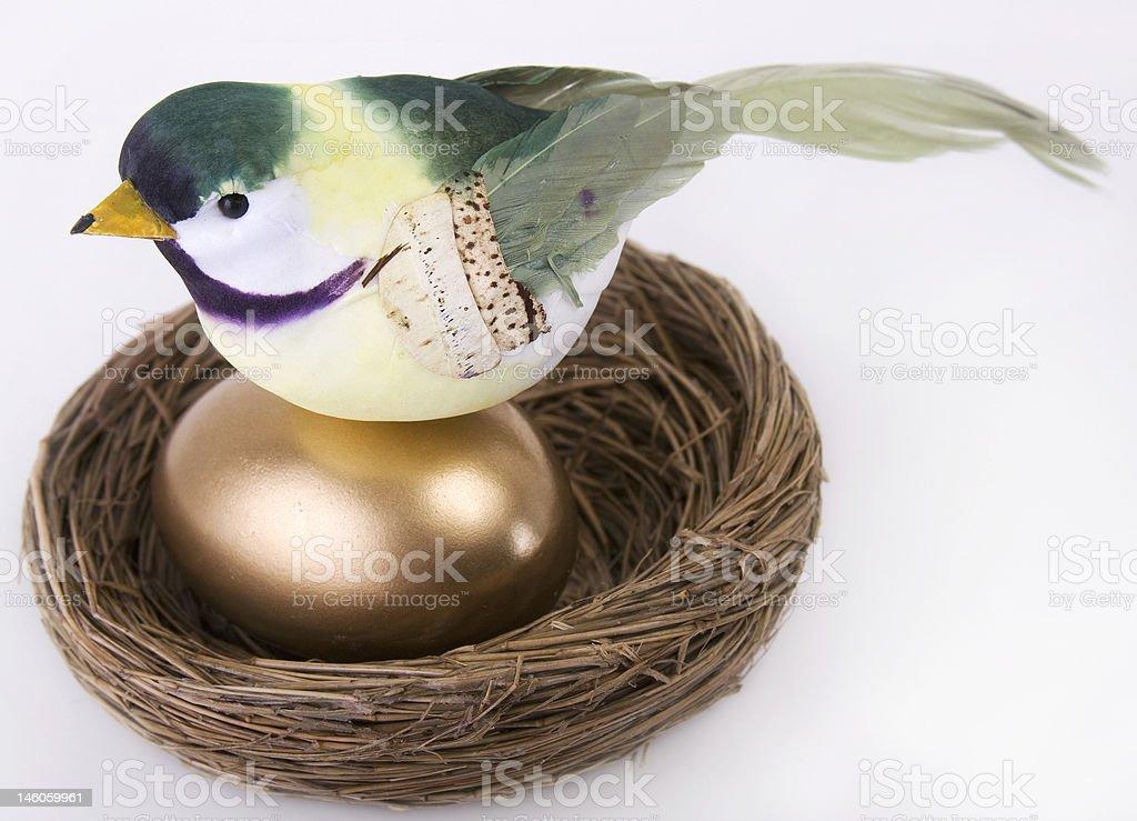 Bird on Gold Egg in Nest stock photo