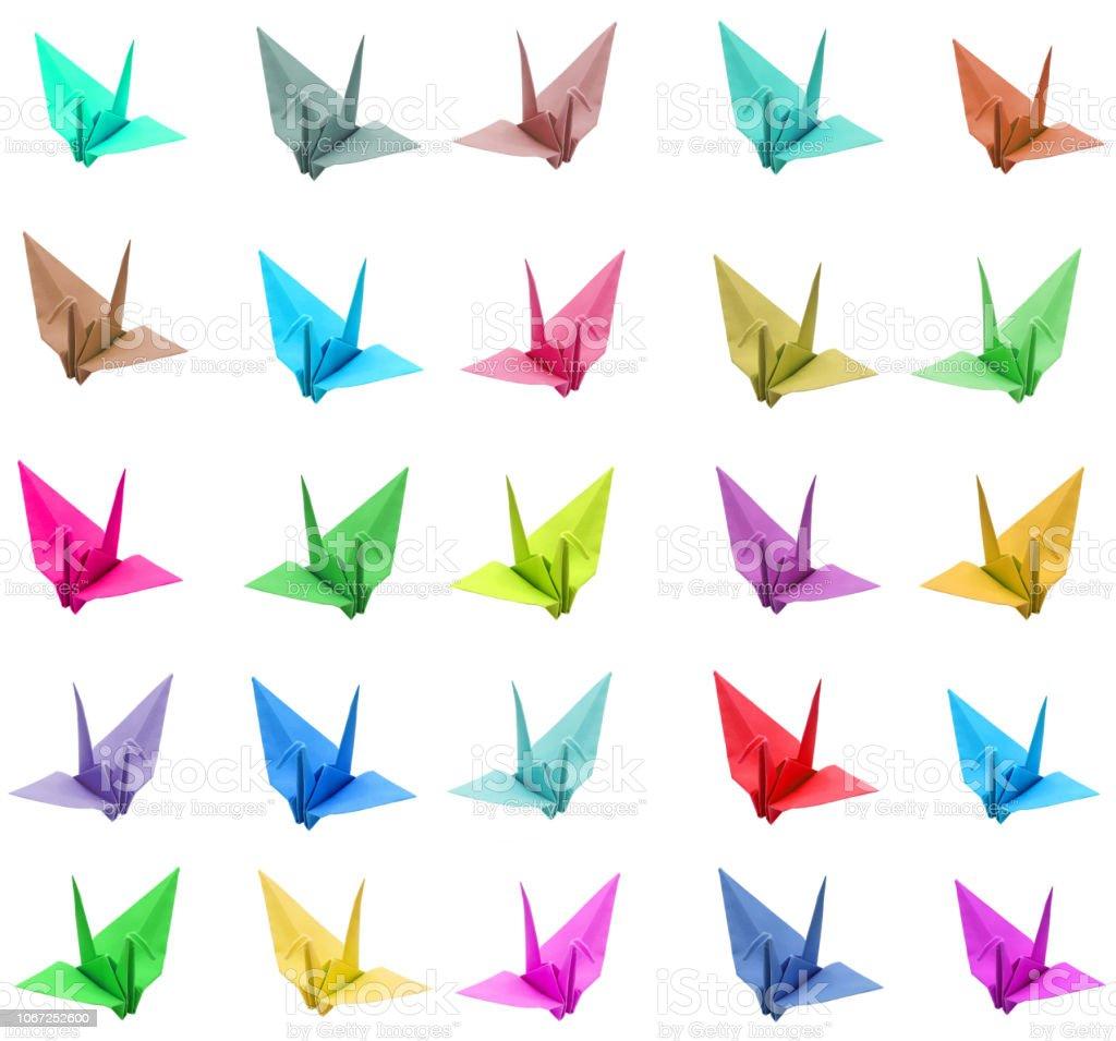 Bird Origami. Colors, papercraft stock photo