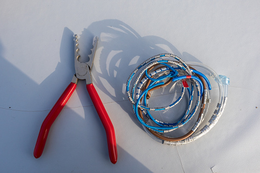 Bird Ringing Station Tools Set Up Table Pliers and Rings