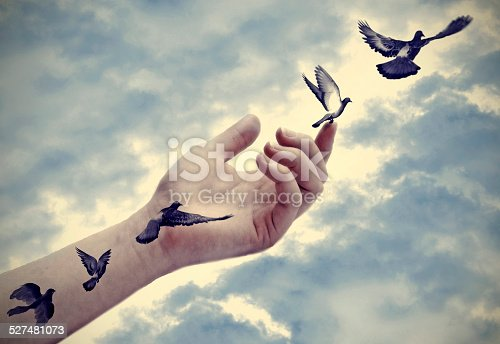 istock Bird tattoos come to life, freedom concept 527481073