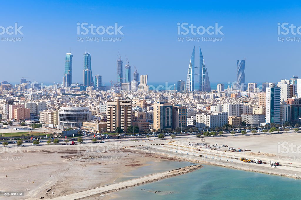 Bird view of Manama, Bahrain. Skyline with skyscrapers stock photo
