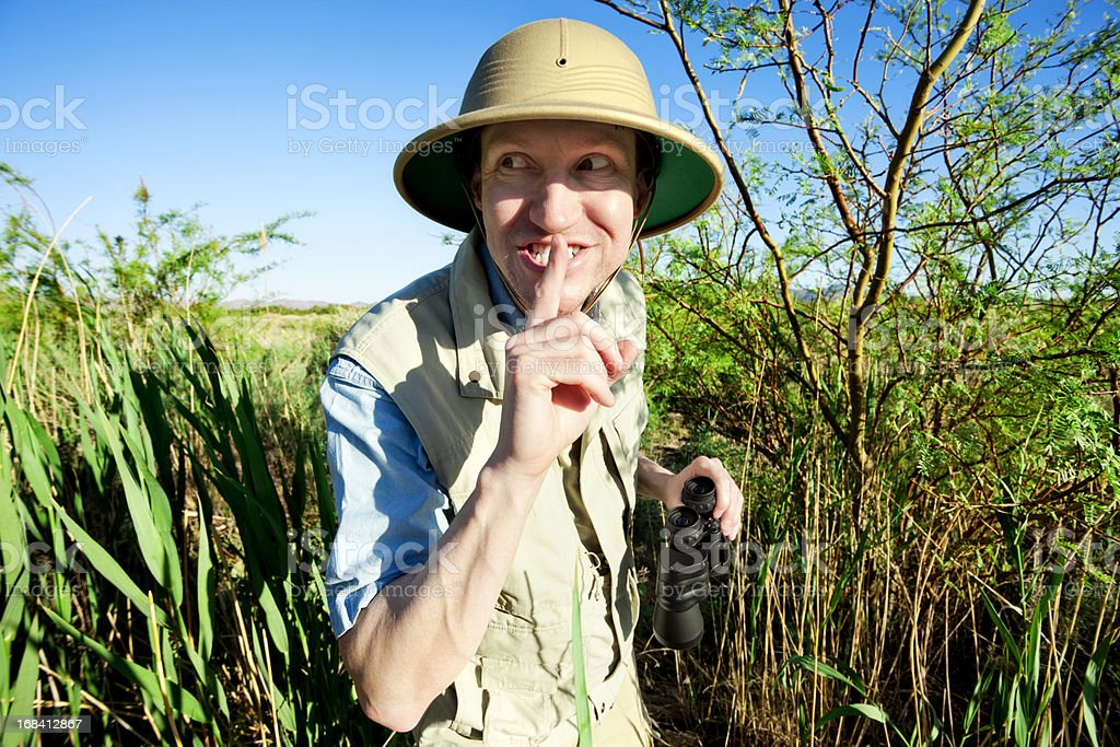 Bird Watcher on Safari stock photo