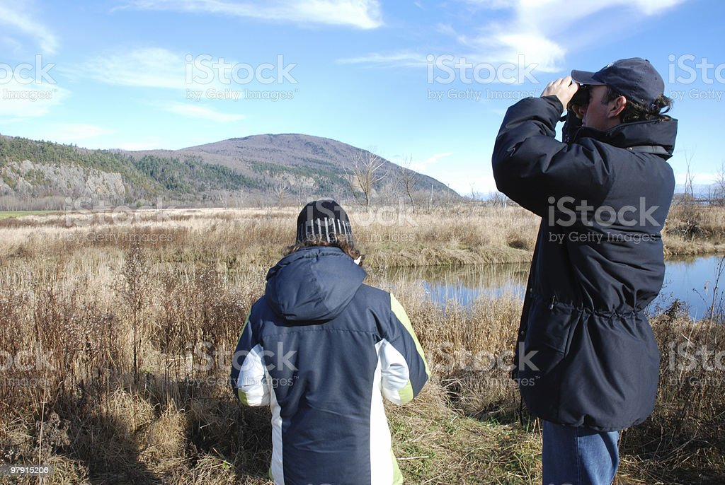 Bird watching at Cap Tourmente 2 royalty-free stock photo