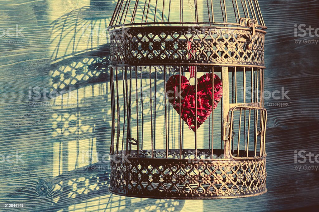 Birdcage with heart inside stock photo