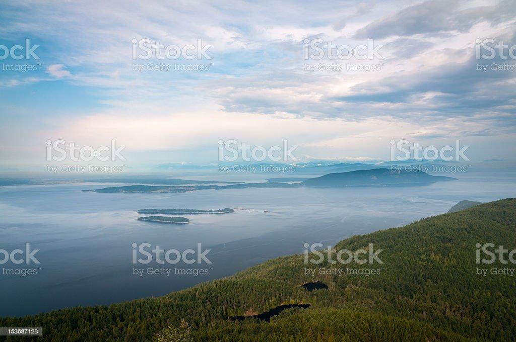 Bird-eye view of San Juan islands in Washington stock photo