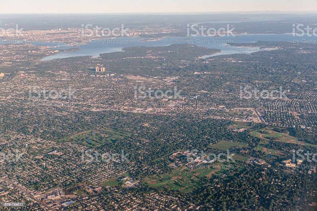 Birdeyeview building in america stock photo