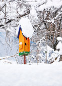 orange birdhouse in winter covered with snow