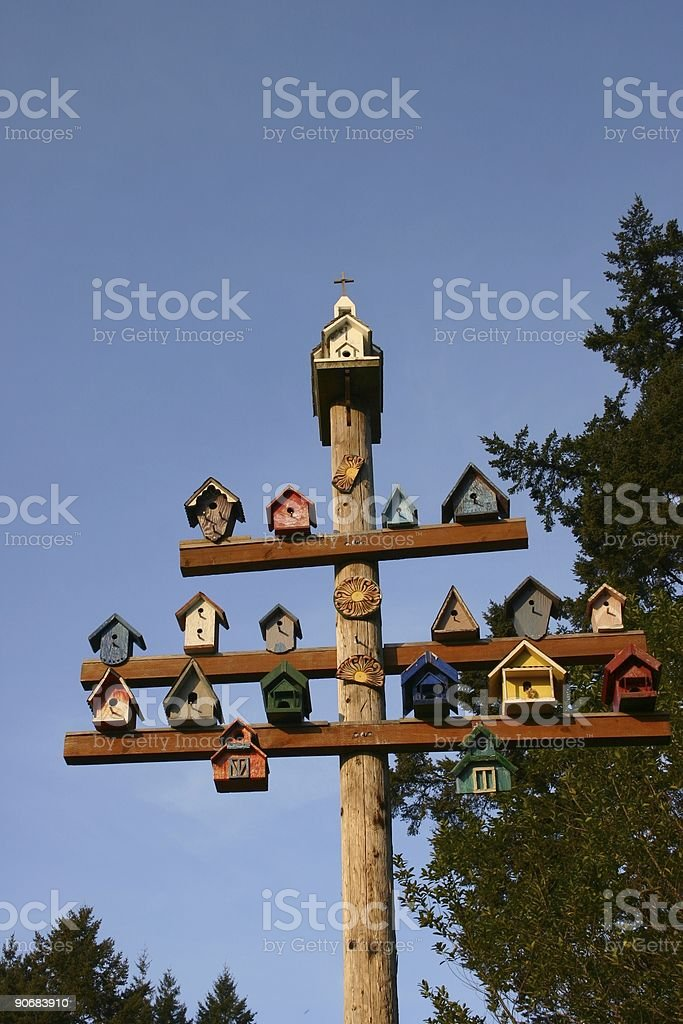 Birdhouses on a pole royalty-free stock photo