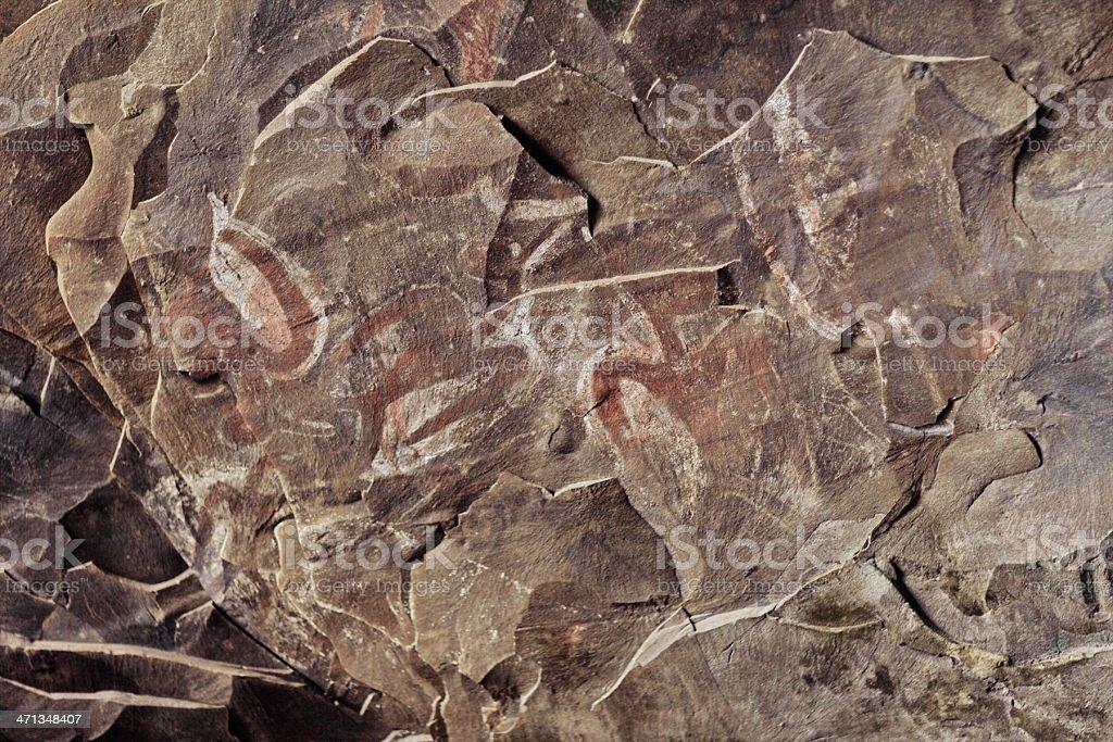 Birdmen Petroglyphs in Ana Kai Tangata - Easter Island royalty-free stock photo