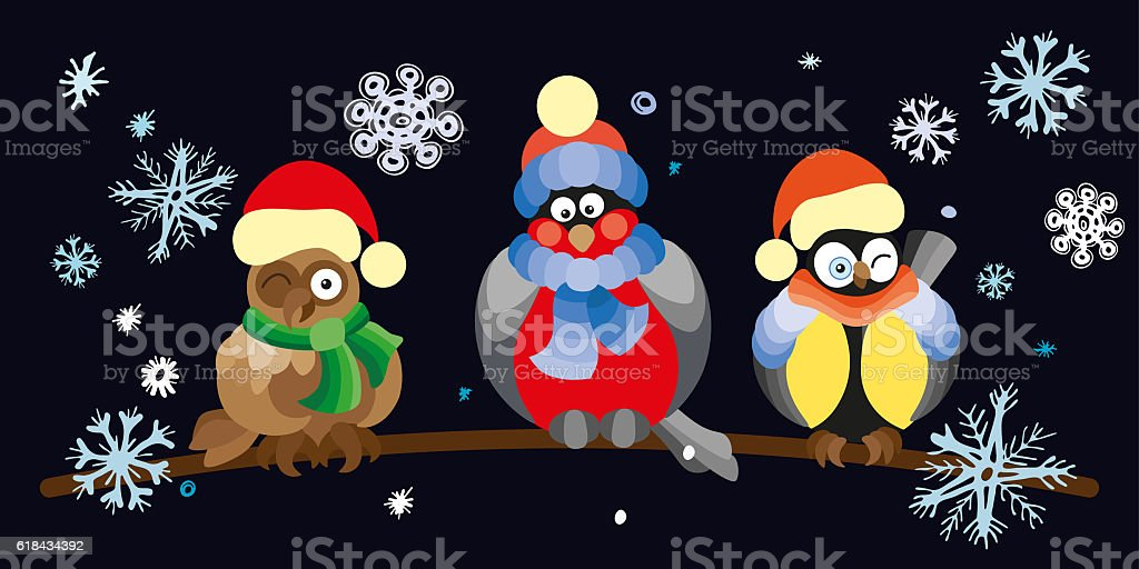 Birds and owls in winter forest . stock photo