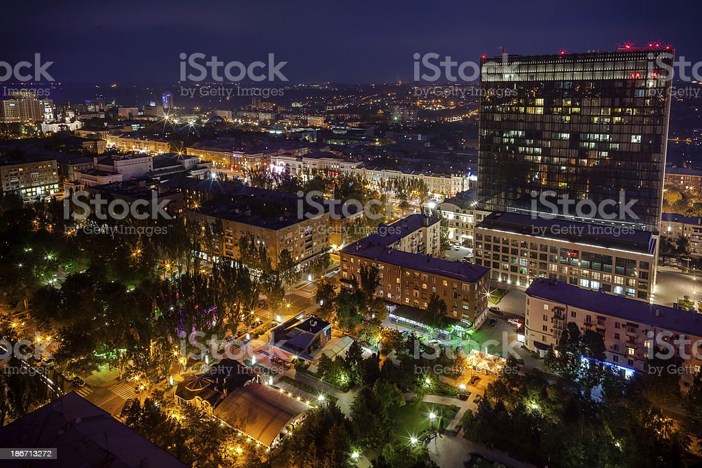 Birds eye nightview of the city royalty-free stock photo