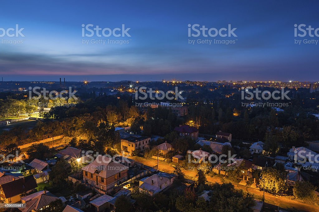Birds eye nightview of the city stock photo