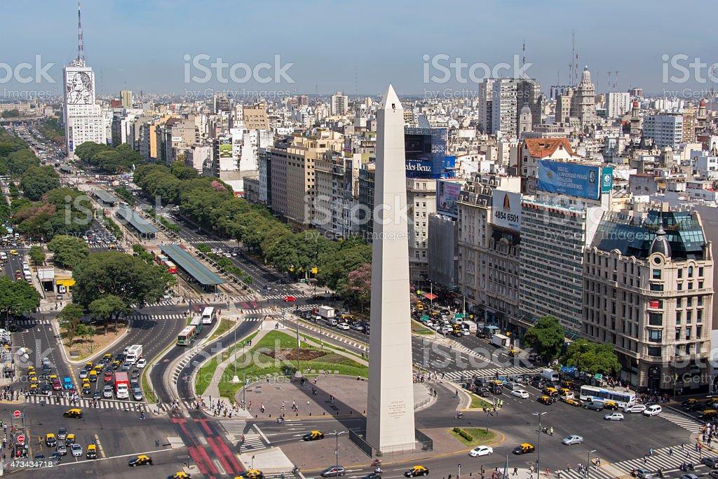 Birds eye of Avenida 9 de Julio in Buenos Aires royalty-free stock photo
