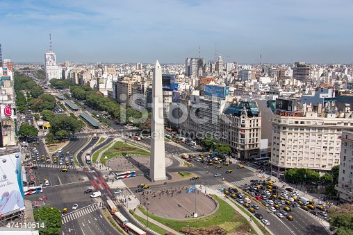 High angle view of the Avenida 9 de Julio in the city center of Buenos Aires. In the front stands the Obelisk.