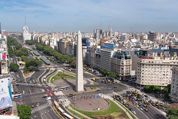 Birds eye of Avenida 9 de Julio in Buenos Aires High angle view of the Avenida 9 de Julio in the city center of Buenos Aires. In the front stands the Obelisk. Argentina stock pictures, royalty-free photos & images
