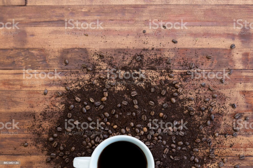 Bird's eye partial view of coffee cup and brewing ingredients stock photo