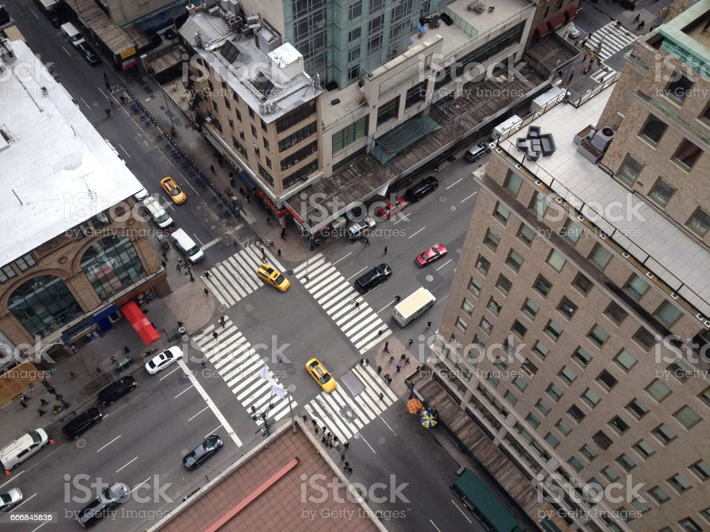 Bird\'s eye view of 5th Avenue from tall New York City skyscraper....