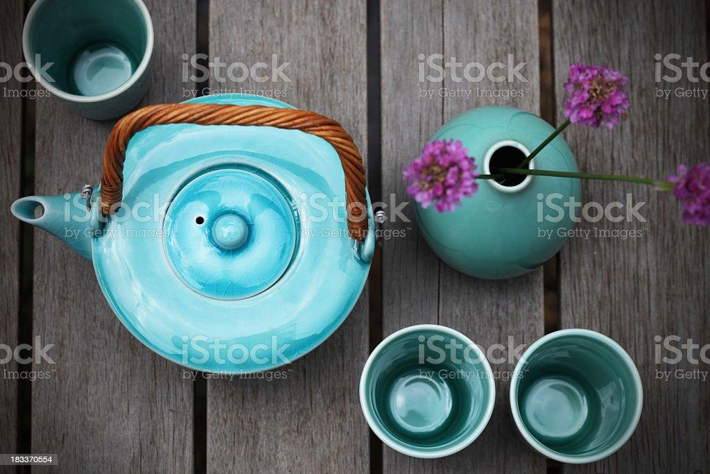 Tee-set - Lizenzfrei Ansicht von oben Stock-Foto