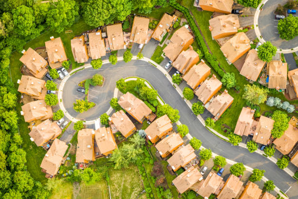 Birds Eye view of a suburban community in New Jersey.