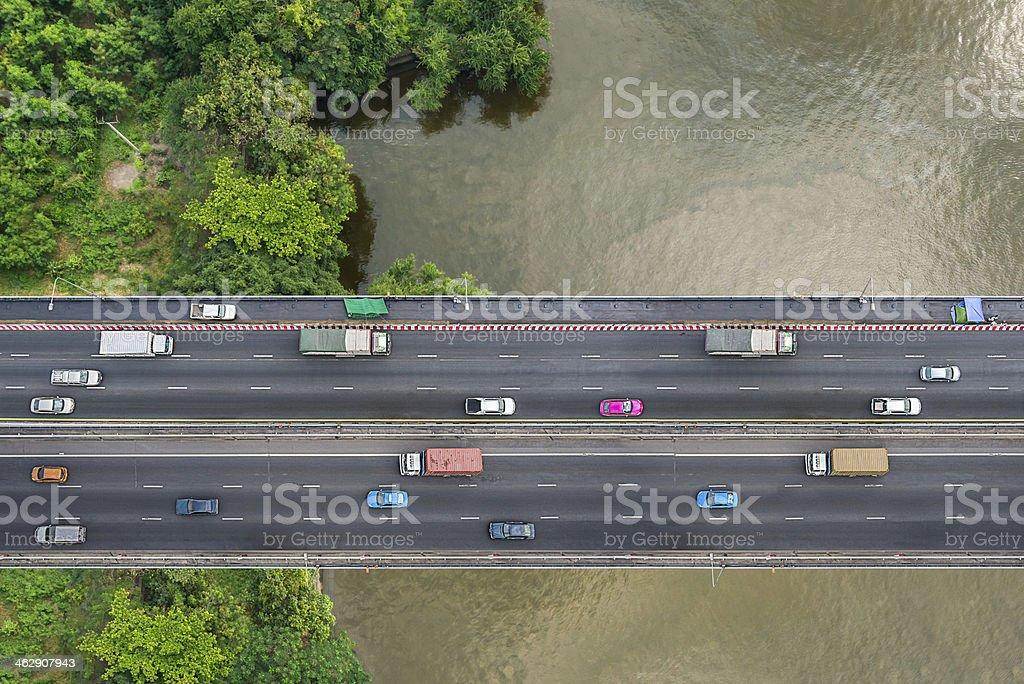 Bird's eye view of bridge stock photo
