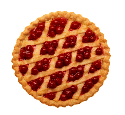 Cherry pie with lattice top on white background
