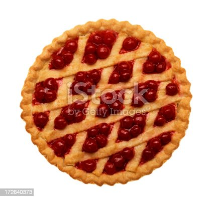 Cherry pie with lattice top on white background