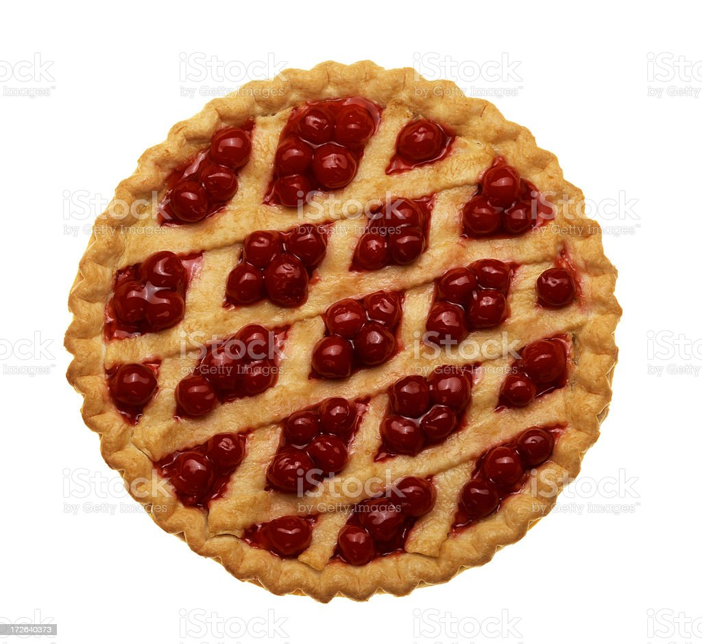 Bird's eye view of cherry pie isolated on white background stock photo
