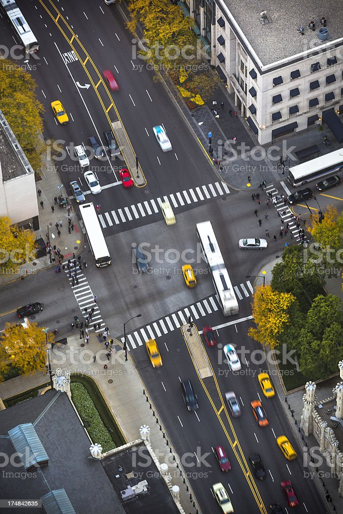 Birds eye view of Chicago downtown stock photo