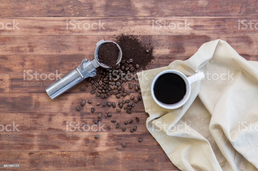 Bird's eye view of coffee cup and brewing equipment stock photo
