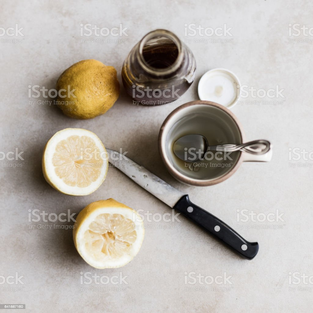 Birds eye view of cough suppressant stock photo