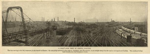 Bird's eye view of Crewe railway junction, 1895, 19th Century stock photo