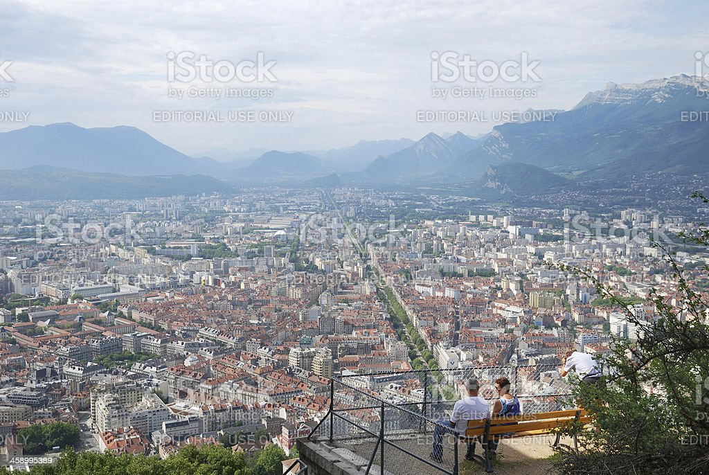 Bird's eye view of Grenoble with tourists. stock photo